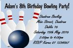 Personalised Blue Bowling Theme Invitations
